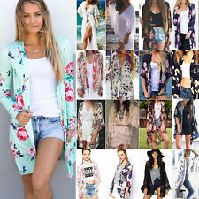Women Kimono Blouses Coat Boho Floral Cardigan Beach Bikini Cover Up Tops Summer