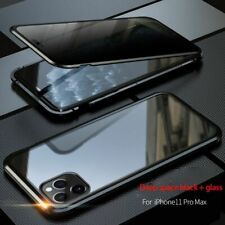 For iPhone 11 Pro Max Anti-peep Magnetic Phone Case Metal Bumper Covers Anti-Spy