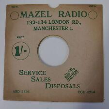"78rpm 10"" card gramophone record sleeve / cover MAZEL RADIO  green/white"