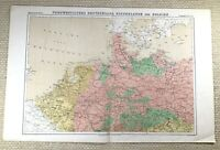 1874 Antique Map of North West Germany Belgium Netherlands German 19th Century