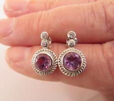 925 Sterling Silver Moroccan Amethyst And Zircon Earrings ( ear0922)