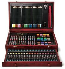 Wooden Art Set Craft Color Crayon Pastel Watercolor Paint Kids Gift 142 Pc NEW
