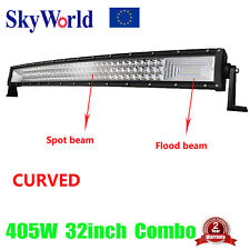 Curved 32inch 405W LED Work Light Bar Spot Flood Driving Lamp SUV UTE Offroad