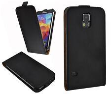 Hülle f Samsung Galaxy S5 i9600 G900 Leder-Imitat Tasche case Cover schwarz