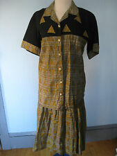 NILE QUEEN Size L skirt blouse SUIT TOP OUTFIT 100% cotton Pakistan black & gold