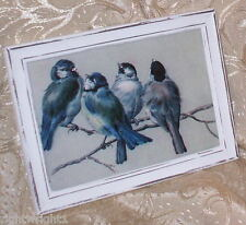 SHABBY VINTAGE LK WHITE FRAME BLUE BIRDS BRANCH PRINT CHIC COTTAGE WALL DECOR