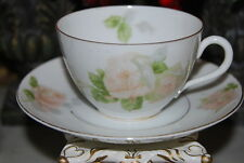 EARLY OHME SILESIA GERMANY HP FLOWERS PINK ROSES LARGE COFFEE TEA CUP SAUCER #2