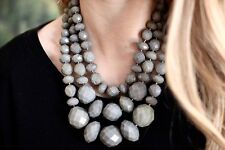 Kate Spade New York GIVE IT A SWIRL faceted bead 3 triple STRAND NECKLACE - GREY