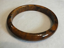 Collectible Bangle Bracelet Caramel Brown Marble Plastic 1/2 Wide x 2 1/2 CUTE