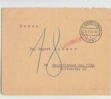 1944 BOLZANO busta t.DEUTSCHE DIENSTPOST ALPENVORLAND a COLONIA+ROSSO NACHGE-e46
