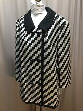 Vintage Designer Black And White Wool Zigzag Jacket Coat By Drazen's 1960S Sz 18