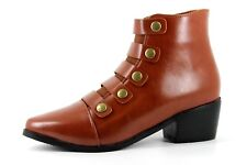 Lunar Belmont Womens UK 3 EU 36 Tan Brown Faux Leather Zip Up Heeled Ankle Boots