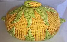 Vtg Ceramic Corn Bowl / Serving Dish/ Soup Tureen/ Display Piece