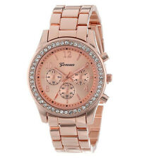 Faux Chronograph Quartz Classic Round Ladies Women Crystals Watch Rose Gold New