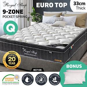 Queen Mattress 33cm 9 Zone Euro Top Pocket Spring Memory Foam Cool Gel Bamboo