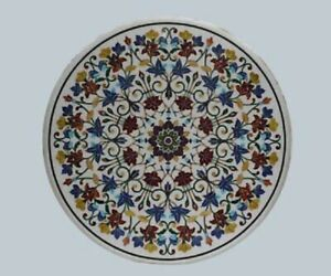 "36"" Marble Dining Table Top Inlay Rare Semi Round Center Coffee Table AR0828"