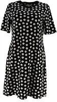 Isaac Mizrahi Live! Elbow Sleeve T-Shirt Dress (Black, XS) A307531