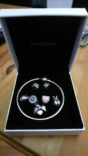 Genuine Pandora Sterling Silver Moments 21 CM Bangle 5 Pandora charms 2 clips