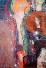 Irrlichter Frauenbildnis Secession Jugendstil Bütten Gustav Klimt A3 030
