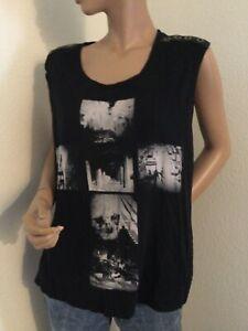 Rock & Republic Women's XL Skull Black Sleeveless Tee with Stretch