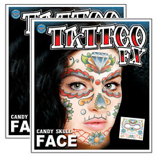 Day of the Dead Candy Skull Full Face Temporary Tattoo - 2 Sets Tinsley TT63