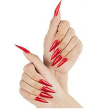 Dark Red Full Cover Long Stiletto False Nails Artificial Acrylic Press on Set