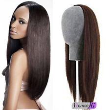 Long Thick Straight 100% Real Human Hair Machine Weft Handmade 3/4 Head Half Wig