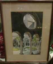 ancienne grande aquarelle signée abbaye cistercienne epoque 1900 cadre