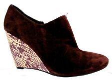 BEVERLY FELDMAN Brown Suede Leather Snake Skin Wedge Heel Boot Shoes 11 M