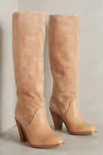 Splendid big calf beige nude suede & leather pull on knee boots 6 36 New In Box