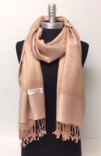 New Solid Paisley Pashmina Silk Cashmere Shawl Scarf Stole Wrap Beige