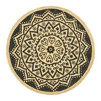 ⭐ Round Mandala Black Print Jute Braided Rug - 90cm Shabby Chic