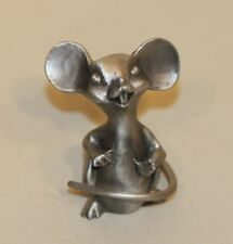 Hudson WF Fine Pewter Figurine Big Eared Mouse Seated with Tail Wrapped Around