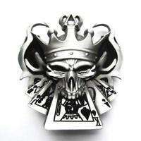 Skull Joker Royal flush Cards Belt Buckle Gray