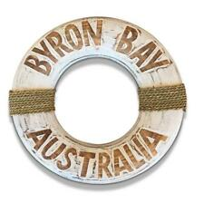 Byron Bay Beach Buoy Life Ring Design Sign in Rustic Timber Finish with White Wa