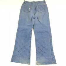 Vintage 60s 70s Jeans Womens Bell Bottoms Flare Leg Hippie Woodstock Denim 31x29