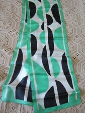 New Silk Scarf  Heavy Twill Irish Green White Black Geometric Abstract Excel