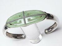 Massiv gearbeiteter 925 Silber Armreif China Jade hellgrün - Meisterpunze / A92
