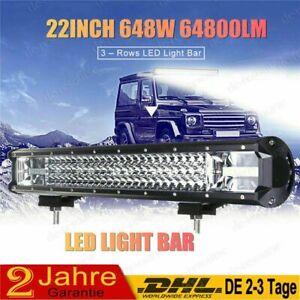 "648W Cree LED Lightbar Lichtbalken Arbeitsscheinwerfer Offroad Lampe 12V 24V 25"""