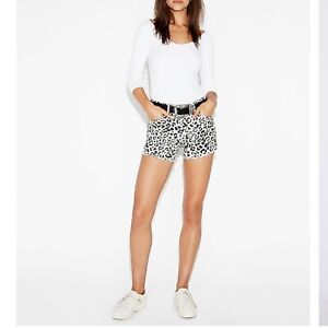 NWT Express Mid Rise Leopard Super Soft Flip Hem Shorts 00