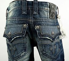 "$220 Mens Rock Revival Jeans ""Leon"" Dark Leather Inserts Straight Leg 32 X 34"