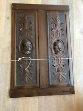 ANTIQUE PAIR,Renaissance Revival CARVED PANELS, American Walnut,early 1900s