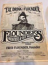 Vintage Flounder's Chowder & Ale House Menu 1991 Pensacola Florida 6 pages