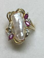 1/2 ct natural (REAL) DIAMOND & RUBY & PEARL cluster ring SOLID 14K yellow GOLD