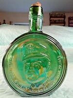 Vintage WHEATON Green Carnival Glass Bottle 1st Edition  Dwight Ike Eisenhower