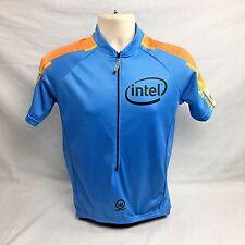Intel Cycling Bike Jersey Canari 3/4 Zip 3 Back Pockets Light Blue New Medium