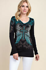 Vocal Crystals Angel Wings Cross Black Blue Whipstitch Ribbed Top  S M L XL