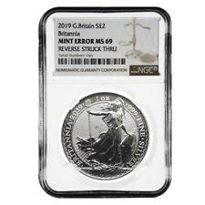 2019 Great Britain 1 oz Silver Britannia Coin NGC MS 69 Mint Error (Rev Struck