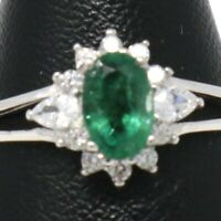 Authentic Colombian Emerald Halo Ring Women Jewelry Gift 14K White Gold Plated