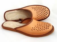100% Natural Leather Mens Indoor Outdoor Mule Shoes Slippers Slides UK 7.5 -10